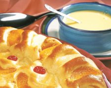 Mixed Fruit Pudding featured with custard